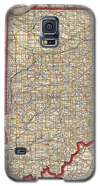Antique Map Of Indiana By George Franklin Cram - 1888 Galaxy S5 Case by Blue Monocle