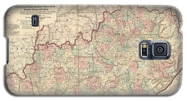 Galaxy S5 Case featuring the drawing Antique Map Of Kentucky By James T. Lloyd - 1862 by Blue Monocle