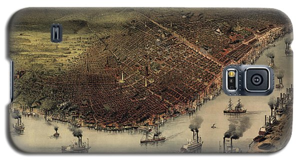 Antique Map Of New Orleans By Currier And Ives - Circa 1885 Galaxy S5 Case by Blue Monocle