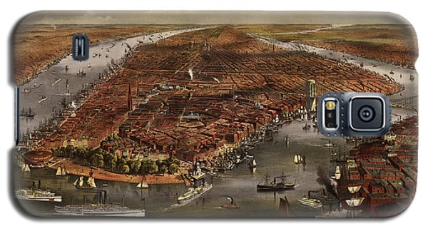 Antique Map Of New York City By Currier And Ives - 1870 Galaxy S5 Case by Blue Monocle