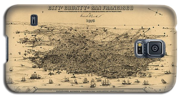 Galaxy S5 Case featuring the drawing Antique Map Of San Francisco By Frederick Marriott - 1875 by Blue Monocle