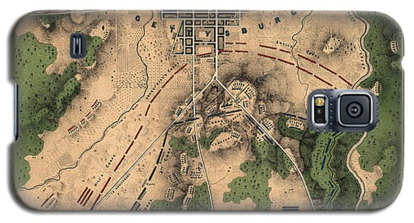 Antique Map Of The Battle Of Gettysburg By William H. Willcox - 1863 Galaxy S5 Case by Blue Monocle