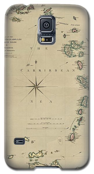 Antique Map Of The Caribbean - Lesser Antilles - By Mathew Richmond - 1789 Galaxy S5 Case by Blue Monocle
