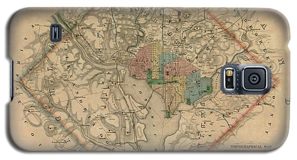 Antique Map Of Washington Dc By Colton And Co - 1862 Galaxy S5 Case by Blue Monocle