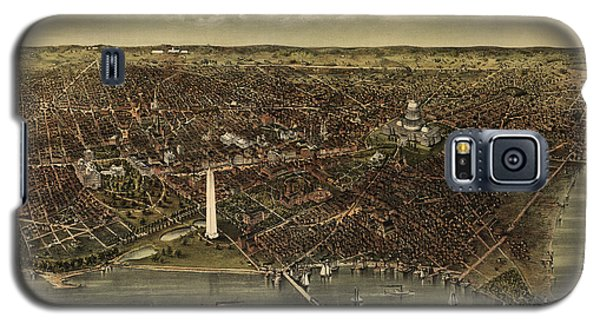 Antique Map Of Washington Dc By Currier And Ives - Circa 1892 Galaxy S5 Case by Blue Monocle