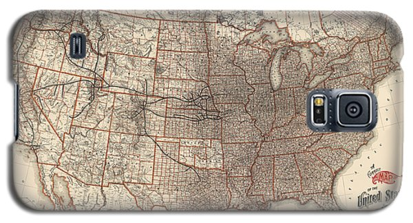Antique Railroad Map Of The United States - Union Pacific - 1892 Galaxy S5 Case by Blue Monocle