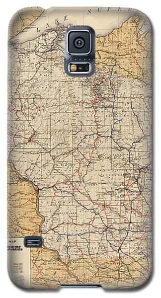 Antique Railroad Map Of Wisconsin - 1900 Galaxy S5 Case