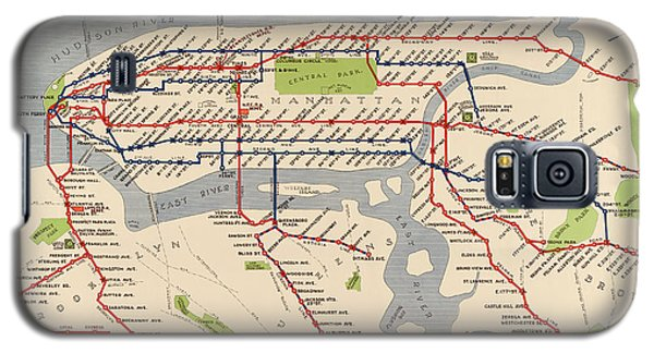 Antique Subway Map Of New York City - 1924 Galaxy S5 Case by Blue Monocle