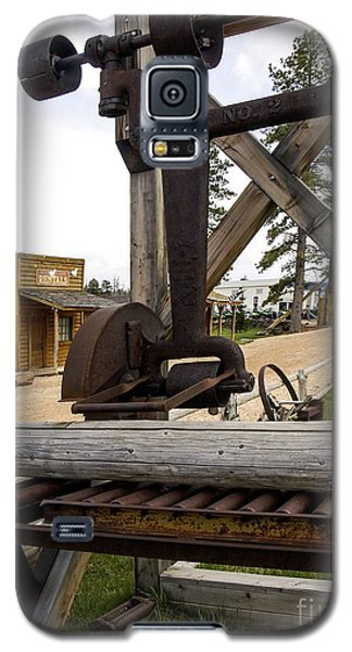 Galaxy S5 Case featuring the photograph Antique Table Saw Tool Wood Cutting Machine by Paul Fearn