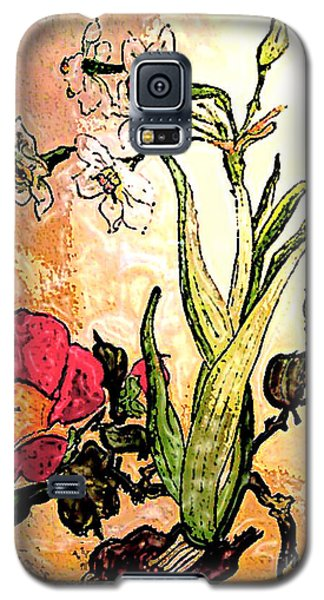 Antiqued Floral Watercolor Painting Galaxy S5 Case by Merton Allen