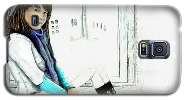 Galaxy S5 Case featuring the drawing Antonela In The Window by Albert Puskaric