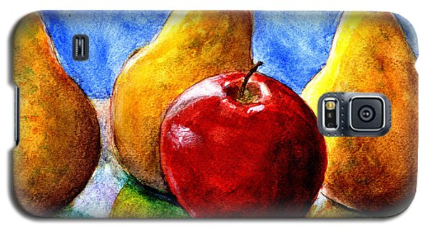 Galaxy S5 Case featuring the painting Apple And Three Pears Still Life by Lenora  De Lude