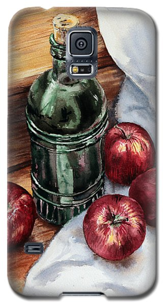 Galaxy S5 Case featuring the painting Apples And A Bottle Of Liqueur by Joey Agbayani