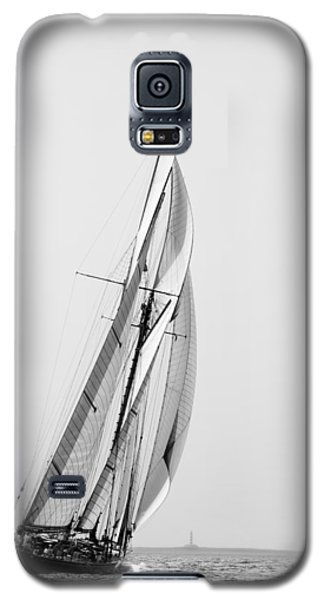 A Tall Ship In Mediterranean Water Approaching To Lighthouse Of Isla Del Aire - Menorca Galaxy S5 Case by Pedro Cardona