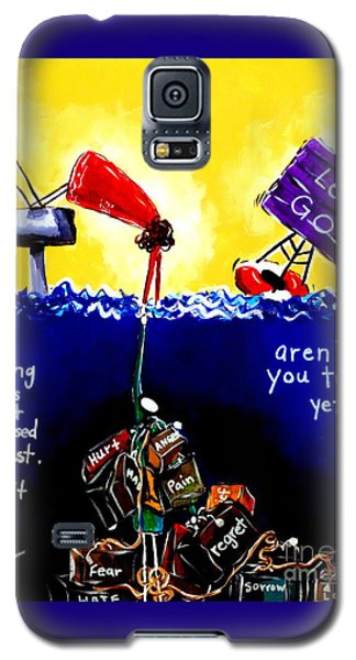 Galaxy S5 Case featuring the painting Aren't You Tired Yet? by Jackie Carpenter