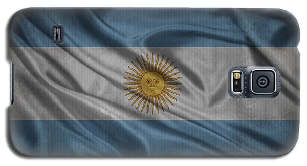 Argentinian Flag Waving On Canvas Galaxy S5 Case by Eti Reid