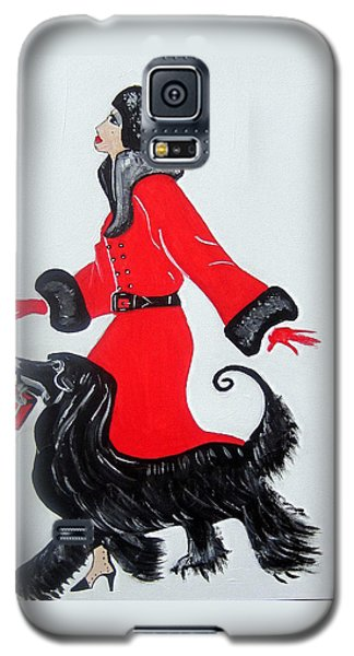 Galaxy S5 Case featuring the painting Art Deco  Girl With Red  Coat by Nora Shepley