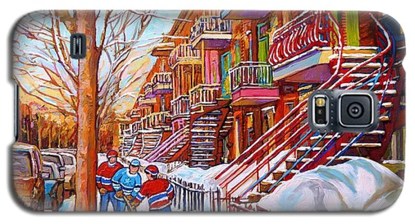 Art Of Montreal Staircases In Winter Street Hockey Game City Streetscenes By Carole Spandau Galaxy S5 Case