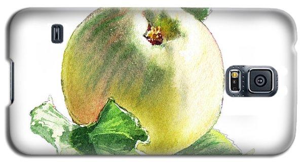 Galaxy S5 Case featuring the painting Artz Vitamins Series A Happy Green Apple by Irina Sztukowski