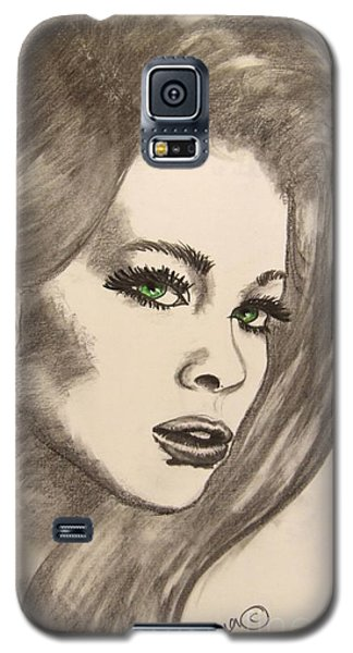 Galaxy S5 Case featuring the drawing Ashton by Marianne NANA Betts