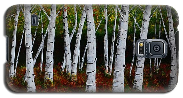 Galaxy S5 Case featuring the painting Aspens In Fall 2 by Melvin Turner