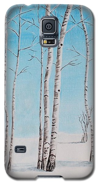 Galaxy S5 Case featuring the painting Aspens In Snow by Melvin Turner