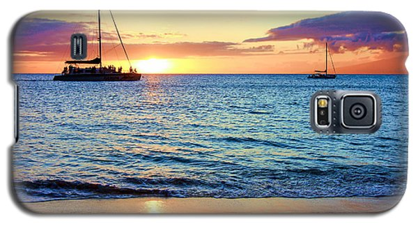 Galaxy S5 Case featuring the photograph At Sea Sunset by Robert  Aycock