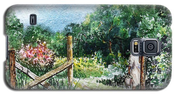 Galaxy S5 Case featuring the painting At The Gate Summer Landscape by Irina Sztukowski