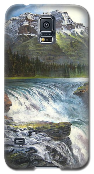 Galaxy S5 Case featuring the painting Athabasca Falls by LaVonne Hand