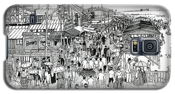 Galaxy S5 Case featuring the drawing Atlantic City Boardwalk 1890 by Ira Shander