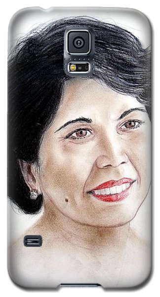 Galaxy S5 Case featuring the drawing Attractive Filipina Woman With A Facial Mole by Jim Fitzpatrick