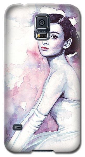 Audrey Hepburn Purple Watercolor Portrait Galaxy S5 Case by Olga Shvartsur
