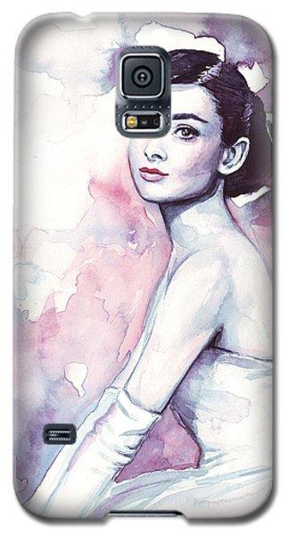 Actors Galaxy S5 Case - Audrey Hepburn Portrait by Olga Shvartsur