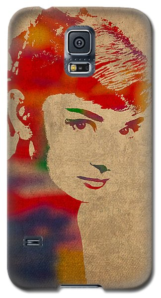 Portraits Galaxy S5 Case - Audrey Hepburn Watercolor Portrait On Worn Distressed Canvas by Design Turnpike