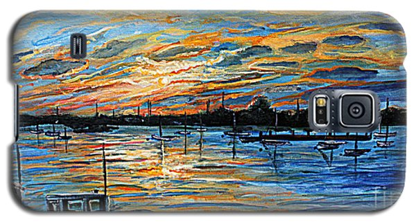 Galaxy S5 Case featuring the painting August Sunset In Woods Hole by Rita Brown