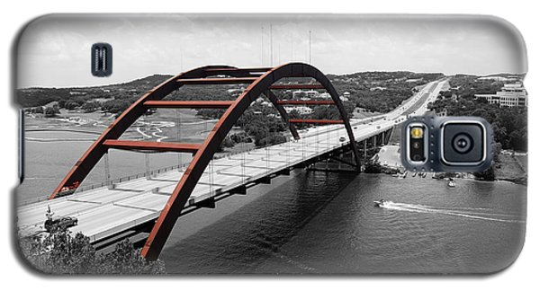 Galaxy S5 Case featuring the digital art Austin Texas Pennybacker 360 Bridge Color Splash Black And White by Shawn O'Brien