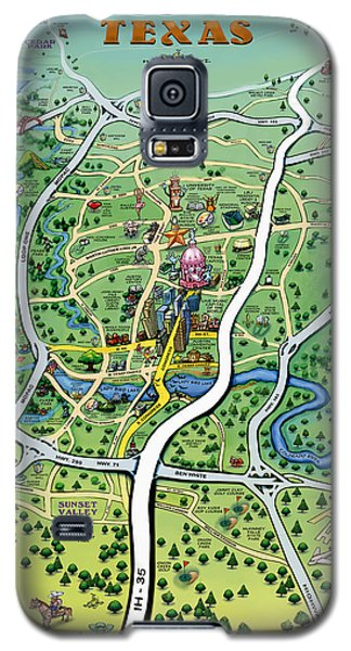 Galaxy S5 Case featuring the digital art Austin Tx Cartoon Map by Kevin Middleton
