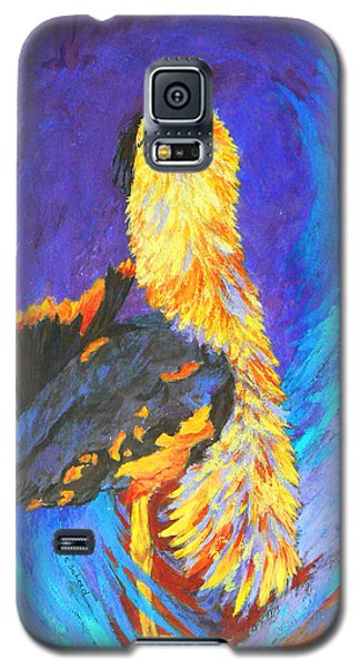 Galaxy S5 Case featuring the painting Australian Bustard Displaying by Margaret Saheed