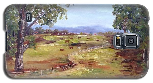 Galaxy S5 Case featuring the painting Australian Landscape Children Fishing by Renate Voigt