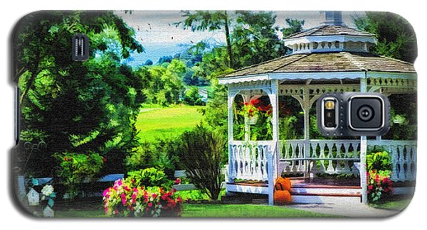 Galaxy S5 Case featuring the photograph Autumn At The Gazebo by Mary Timman
