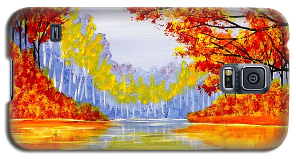Galaxy S5 Case featuring the painting Autumn At The Lake by Darren Robinson