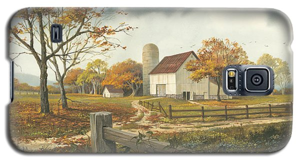 Galaxy S5 Case featuring the painting Autumn Barn by Michael Humphries