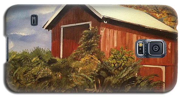 Galaxy S5 Case featuring the painting Autumn - Barn - Ohio by Jan Dappen