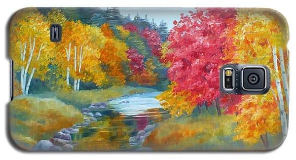 Autumn Blaze With Birch Trees Galaxy S5 Case