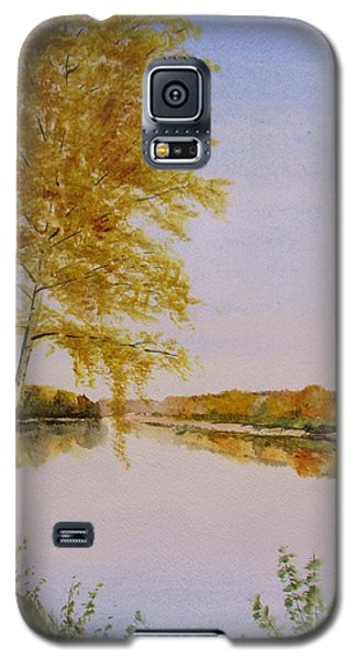 Galaxy S5 Case featuring the painting Autumn By The River by Martin Howard