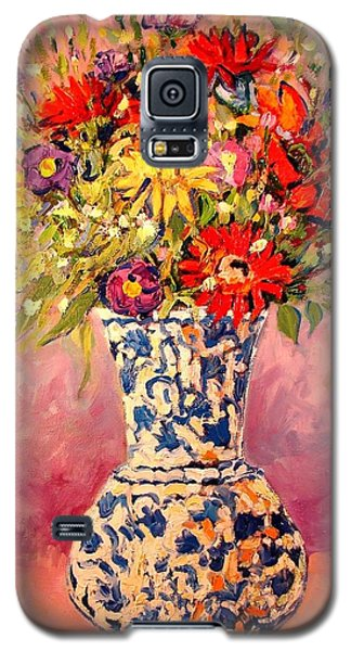 Galaxy S5 Case featuring the painting Autumn Flowers by Ana Maria Edulescu
