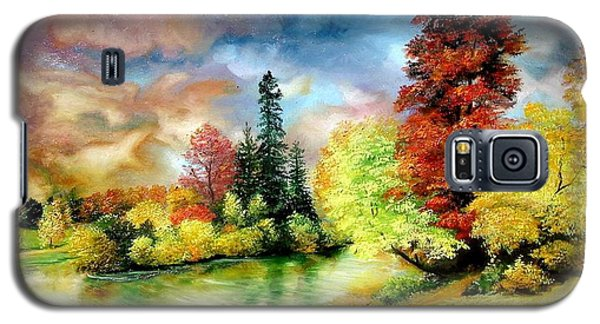 Galaxy S5 Case featuring the painting Autumn In Park by Sorin Apostolescu