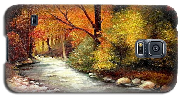 Galaxy S5 Case featuring the painting Autumn In The Forest by Sorin Apostolescu