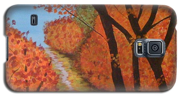 Galaxy S5 Case featuring the painting Autumn Lane by Judi Goodwin