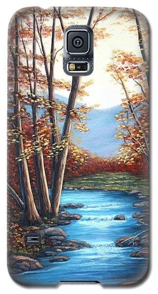 Galaxy S5 Case featuring the painting Autumn Mountain Stream  by Fran Brooks